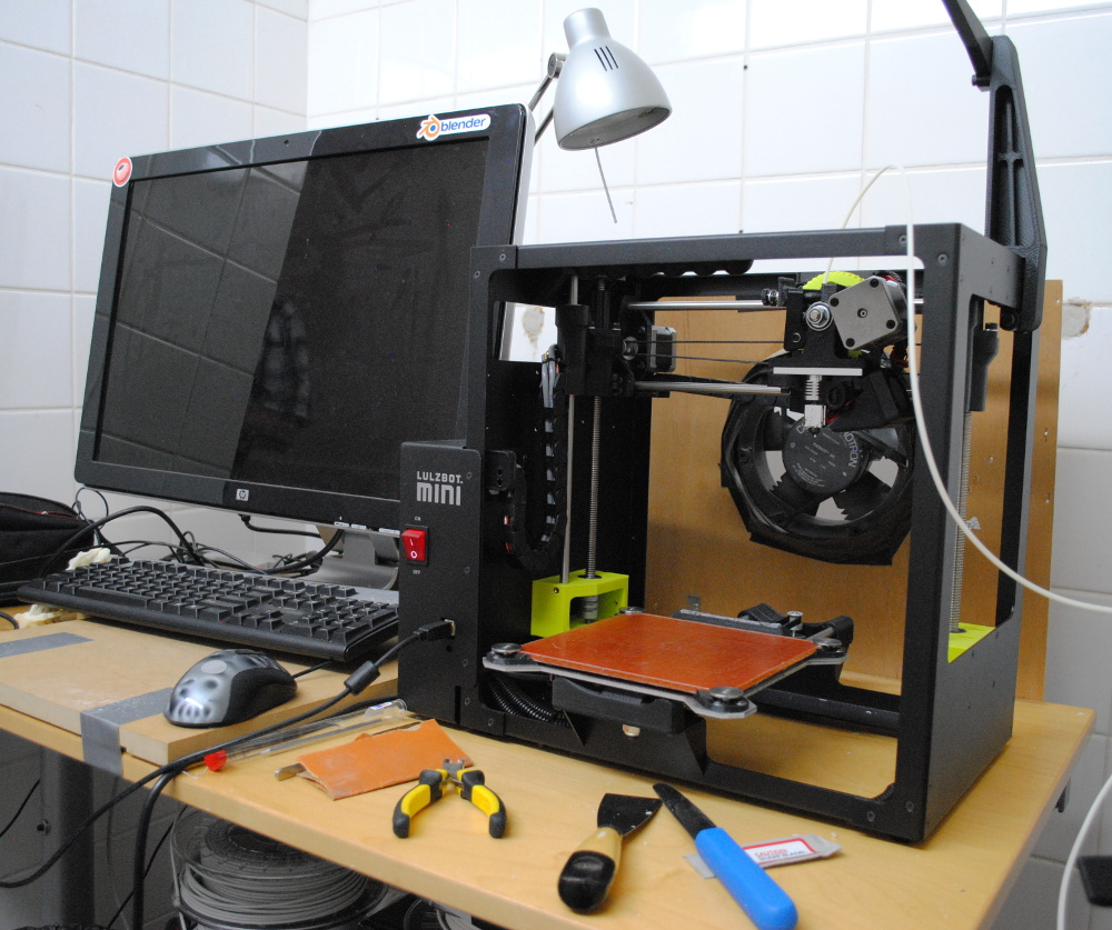 The Lulzbot mini 3D printer in use by Blender Institue. Image via Lulzbot.