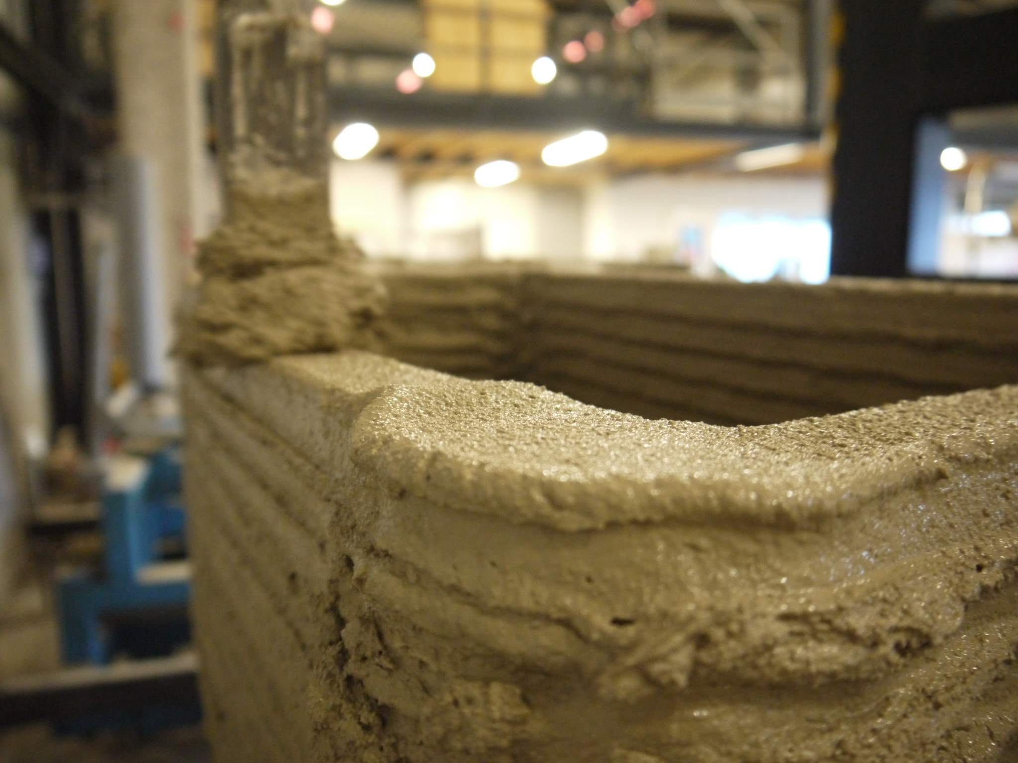 Concrete having been printed by the CyBe RC 3Dp. Photo via CyBe.