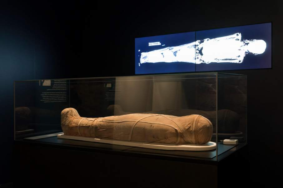 An Egyptian sarcophagus and its 3D x-ray. Photo by: Ryan Hernandez, via Powerhouse Museum on Facebook