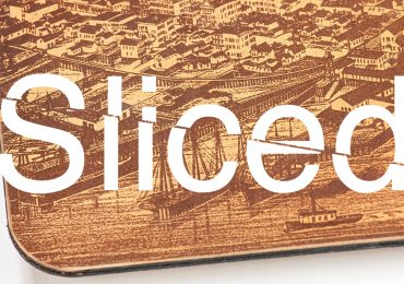 Sliced logo on a laser engraved leather mousepad made by the Glowforge printer. Original photo: Glowforge on Facebook