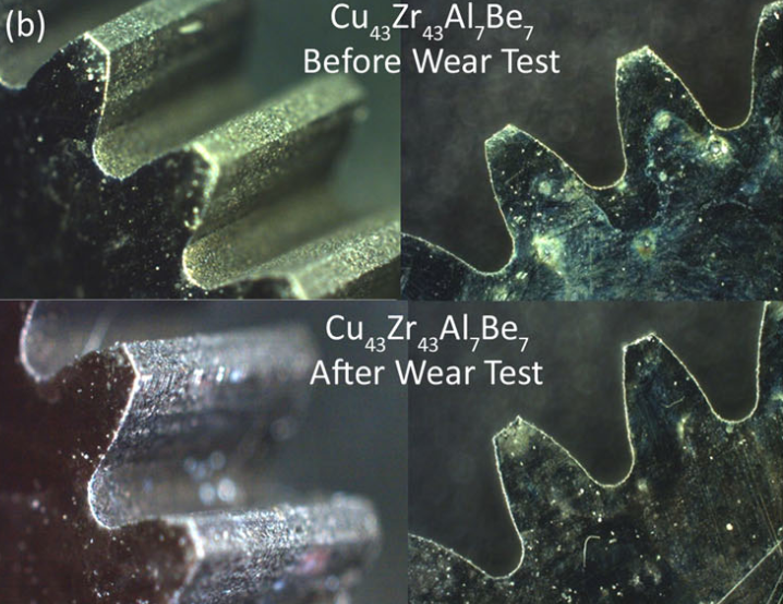 A copper-Zirconium alloy BGM gear before and after wear test showing virtually no damage to the gears. Figure via: Hoffman et al.