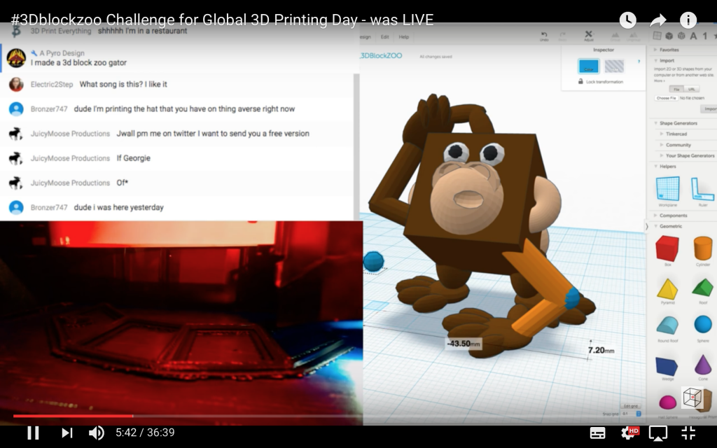 Print That Thing's livestream of a #3DBlockZoo monkey for Global 3D Printing Day