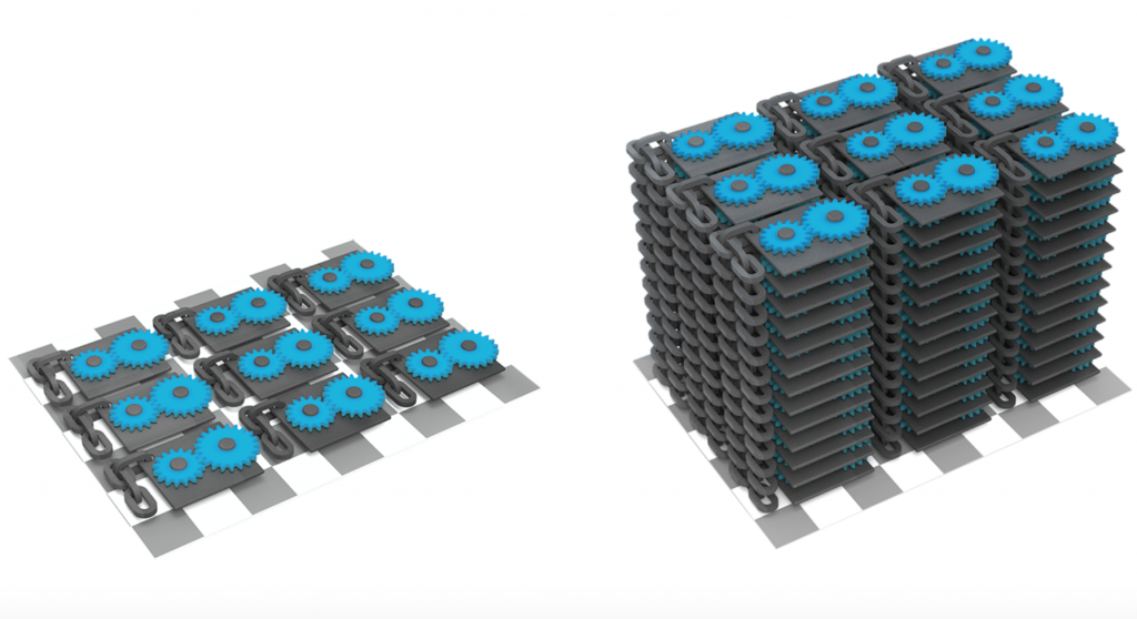 Graphic render of stacked prototypes. Image via: Sinterit