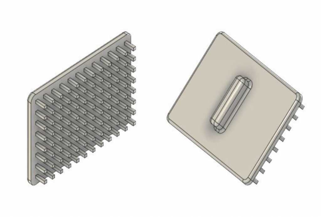 3D image of the 'pillar plates' designed by University of North Carolina researchers to speed up the pipetting process in substance tests. Figure via: J.D. McCallen, A. Schaefer, P. Lee et al.