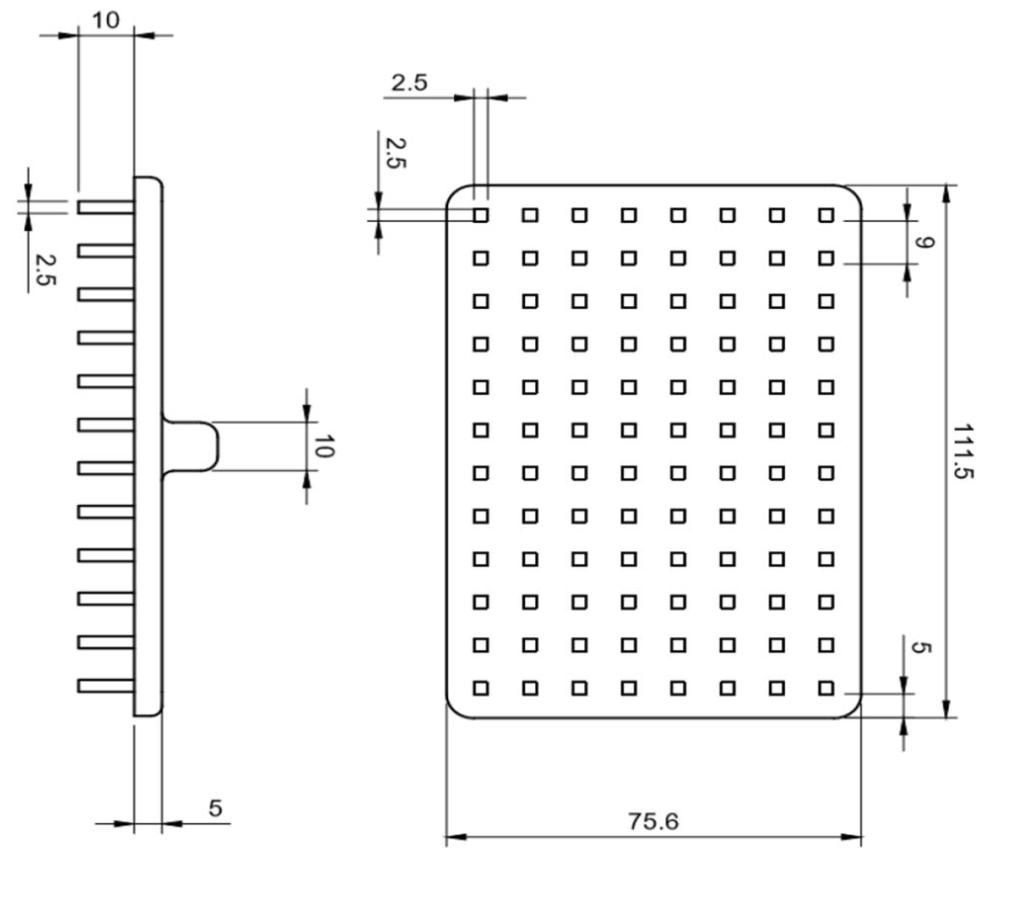Design specification of the 96 pin pillar plate. Figure via: J.D. McCallen, A. Schaefer, P. Lee et al.