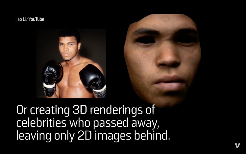 Source photo of Muhammad Ali and his 3D face model. Screenshot via: vocative on Youtube