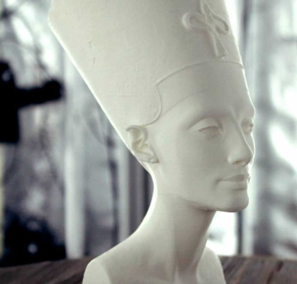 Bust of Nefertiti 3D printed for the 2016 Venice Biennale on a WASP by Scan the World. Photo via: MyMiniFactory