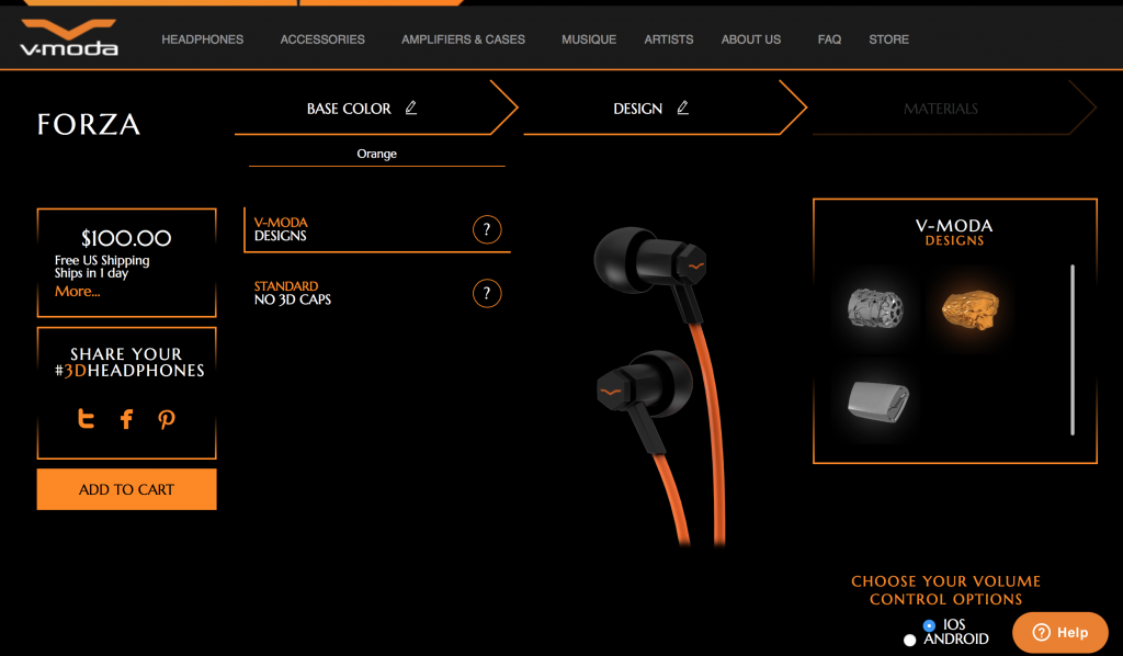 Desing-your-own Forza Metallo. Screenshot via: V-Moda.com