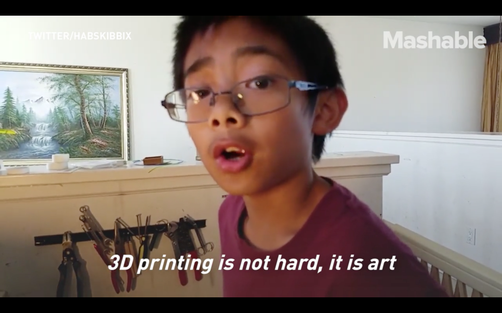 Calramon Mabalot in 2016 on 3D printing. Screenshot via: Mashable