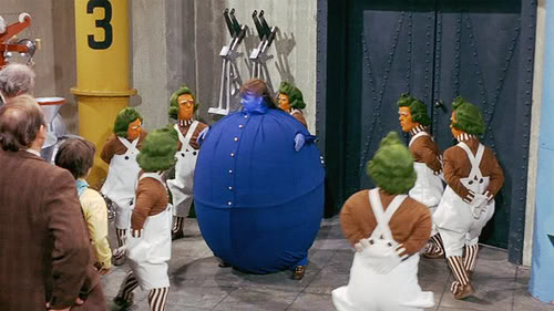 Violet Beauregarde after eating Willy Wonka's chewing gum. Image via Wonka.Wikia.