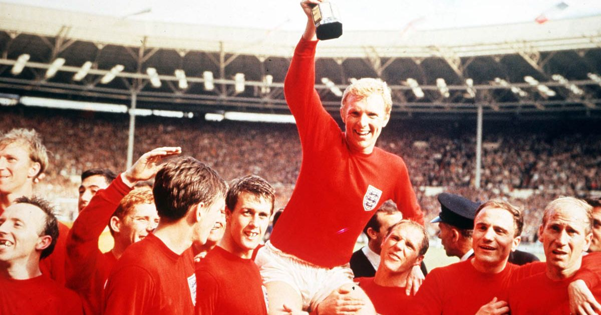 The 1966 World Cup winning team, Sir Bobby Charlton bottom right. Image via GettyImages.