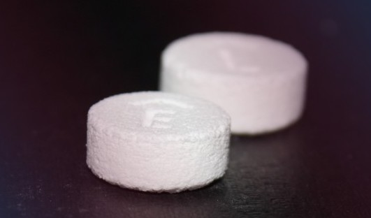 Spiritam, the world's first FDA approved 3D printed drug. Photo via Aprecia.