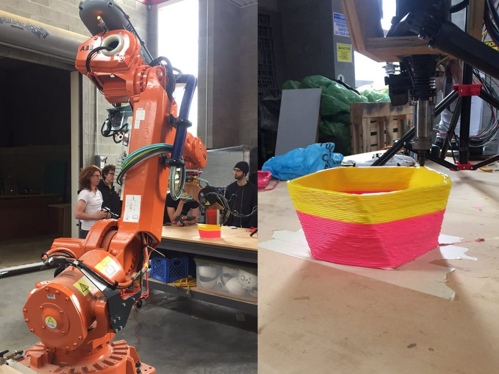 The 6-DoF robotic arm 3D printer Photos via: DREAMSLab on Twitter