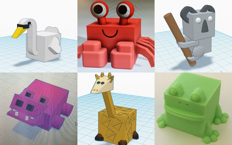 3D block animals created by (top line from left to right) ddhedder, ChaosCoreTech, DragonbaneOZ, and (bottom line left to right) gmweed, nolan_creative and killerb77. All photos via makers on Twitter.