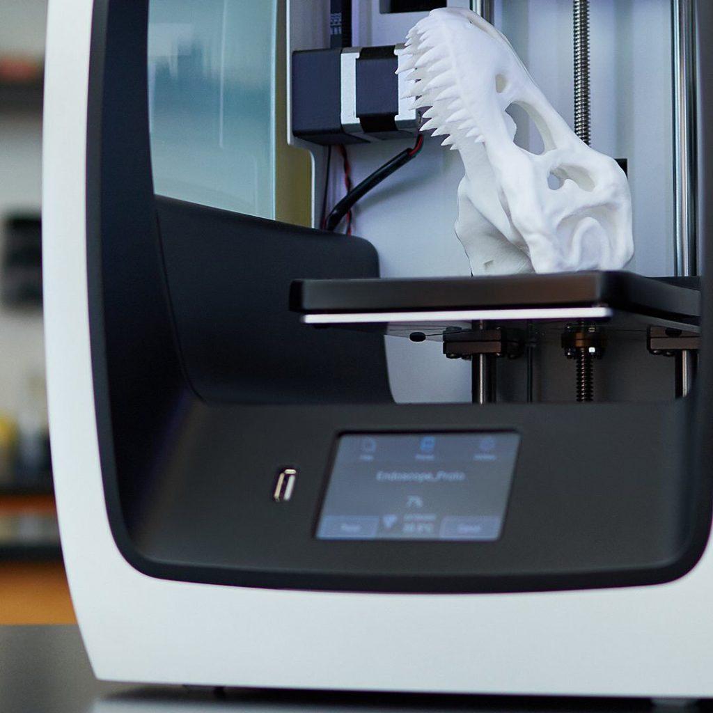 A 3D printed T-Rex skull on the C2 model. Photo via: ROBO3D on Twitter