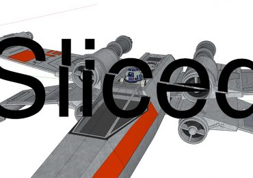 Sliced logo over the Setup Setup model of a Star Wars X-Wing. Image via: 3Dwarehouse.sketchup