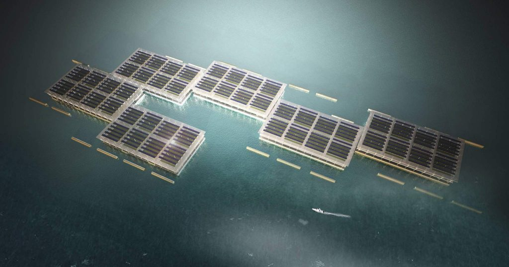 Rendering of floating solar farms. Image via: Javier F. Ponce on Guaana