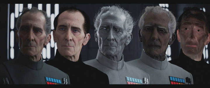 How Industrial Lights and Magic used CGI to form Peter Cushing's character. Image via New York TImes.