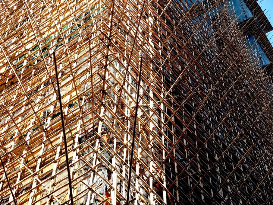 Bamboo scaffolding used in building construction. Photo via: Jellybean on flickr