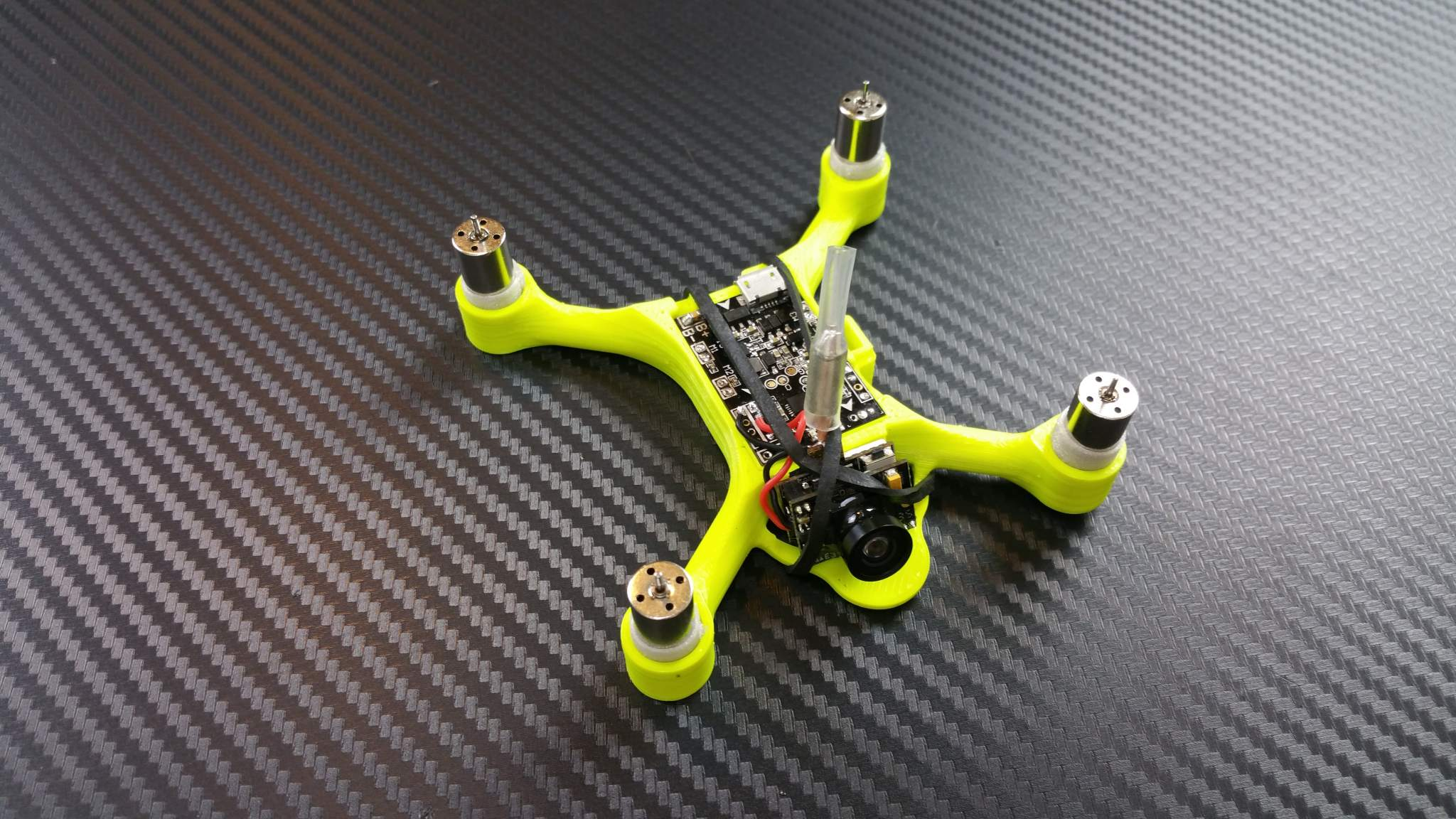 The Micro Quad MK XI frame complete with electronics and motors. Image via Neatherbot on MyMiniFactory.