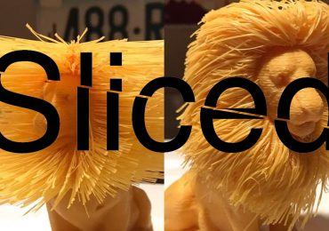Sliced logo over a hairy lion 3D printed by Kyle Gillespie (g1ll32p13 on Instagram) Original model, Thing:2007221 designed by primoz on Thingiverse