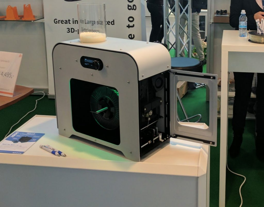 3Devo Next 1.0 Industrial Desktop 3D printing filament extruder during Formnext 2016. Photo by Michael Petch.