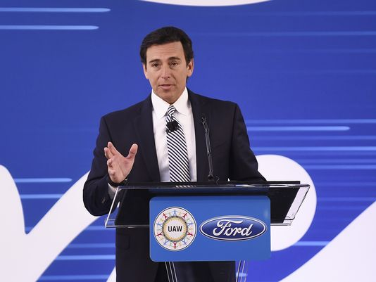 CEO Mark Fields made the announcement in Michigan. Photo via Clarence Tabb Jr, Detroit News.
