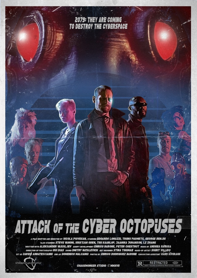 The movie poster for Attack of the Cyber Octopuses. Image via Nicola's Kickstarter.