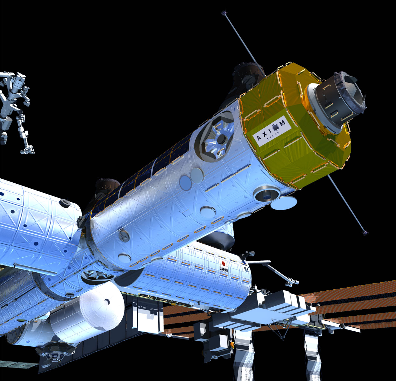 The Axiom Module will provide three new ports to the ISS. Image via Axiom.
