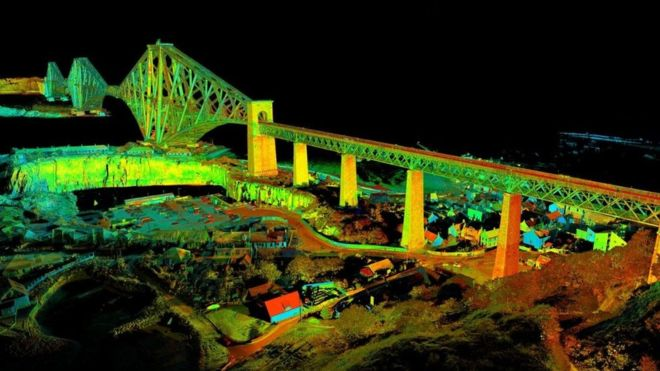 The resulting 3D scan of the Forth Bridge. Image via CDDV.