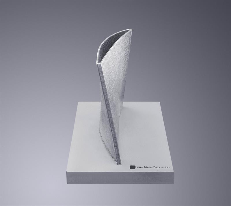Aerofoil shape created using Laser metal deposition. Image from Trumpf.