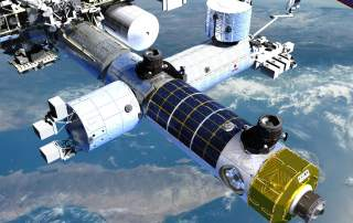 The Axiom module connected to the International Space Station (ISS). Image via Axiom Space.