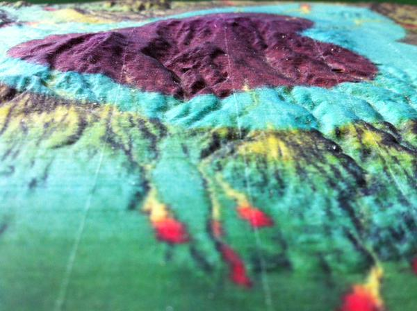 A geographical relief map 3D printed on an Mcor 3D printer.