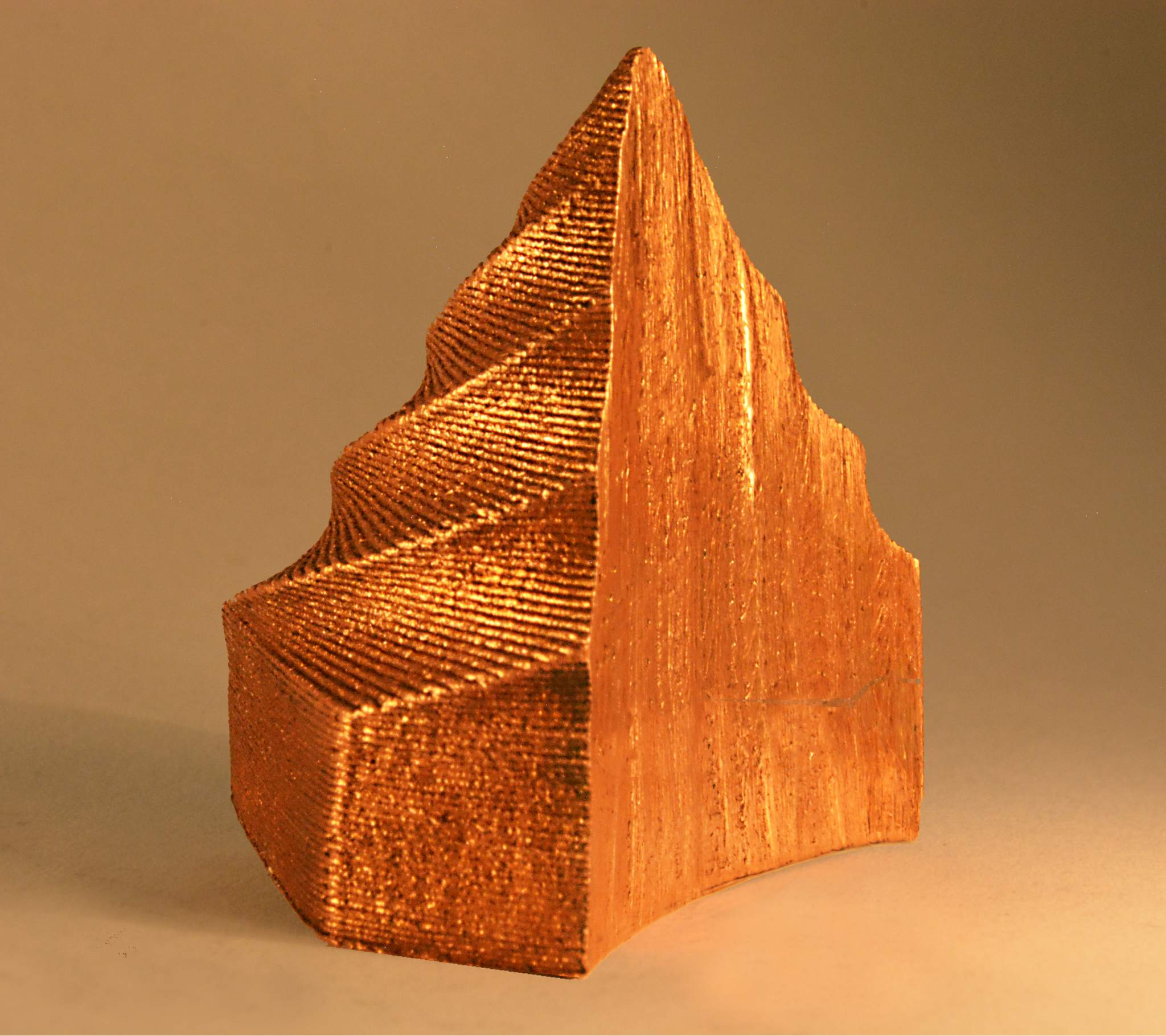 The Virtual Foundry 3D printed metal cone cut-away.