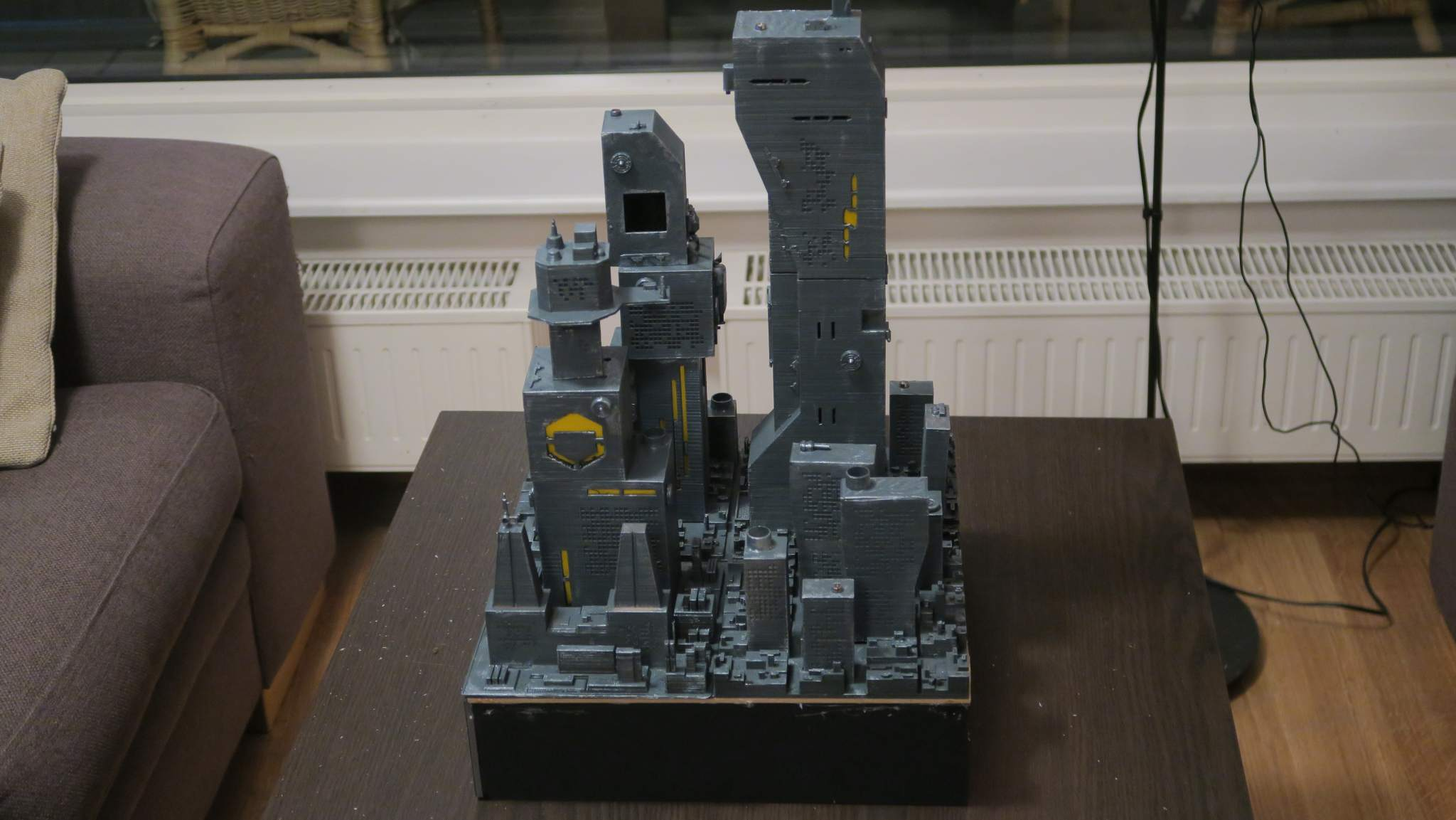 One of the 3D printed city structures for the movie. Photo via Nicola Piovesan.