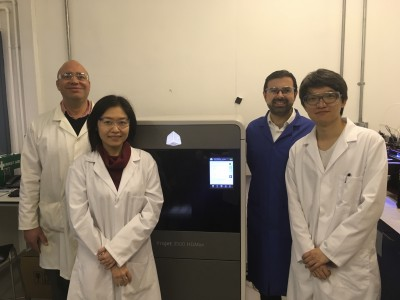 Working on the membranes project: Dr Darrell Patterson; Research Associates, Yen Chua & Nicholas Low; and Professor Davide Mattia. Photo via University of Bath.
