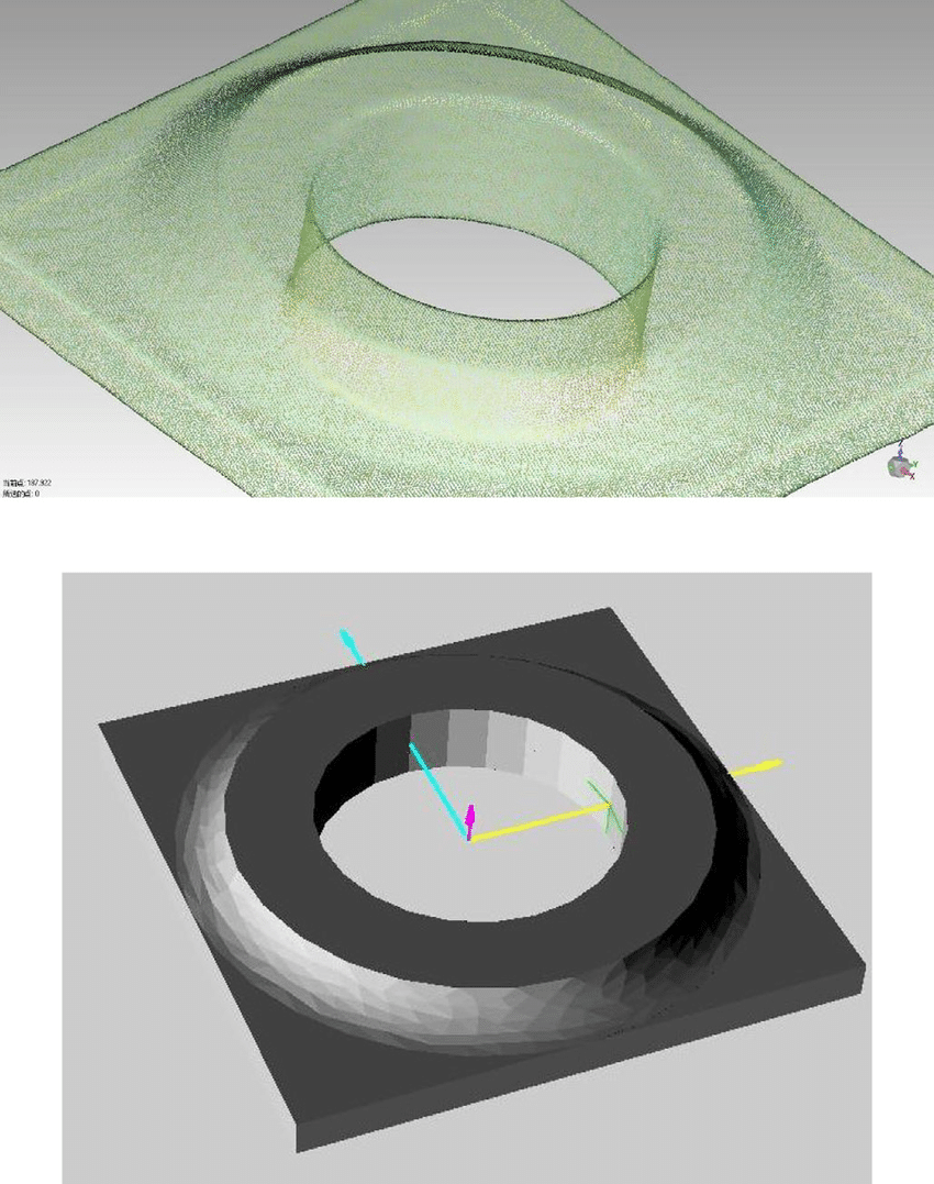 The point cloud data (PCD) top and stl. file model below. Image via ResearchGate.