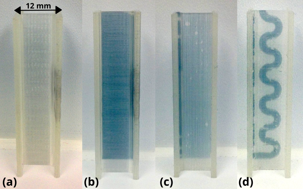 Figure shows the results of dye testing through the cuvettes printed with straight vessels (a, b, c) and the S shaped design. Photo via: Ralph Tatam et al.