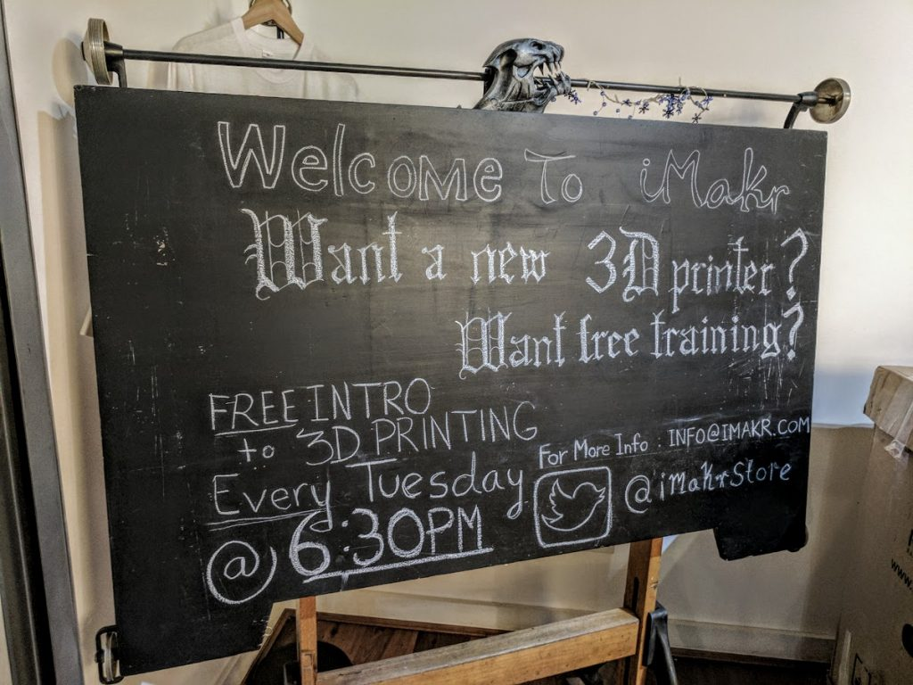 Free intro to 3D printing at iMakr. Photo by Michael Petch.