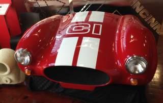 The front of 3D printed Shelby Cobra made using Cincinnati Inc. BAAM machine. Photo via: e-ci.com