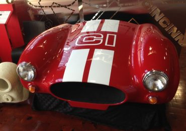 The front of 3D printed Shelby Cobra made using Cincinnati Inc. BAAM machine. Photo via: e-ci.com
