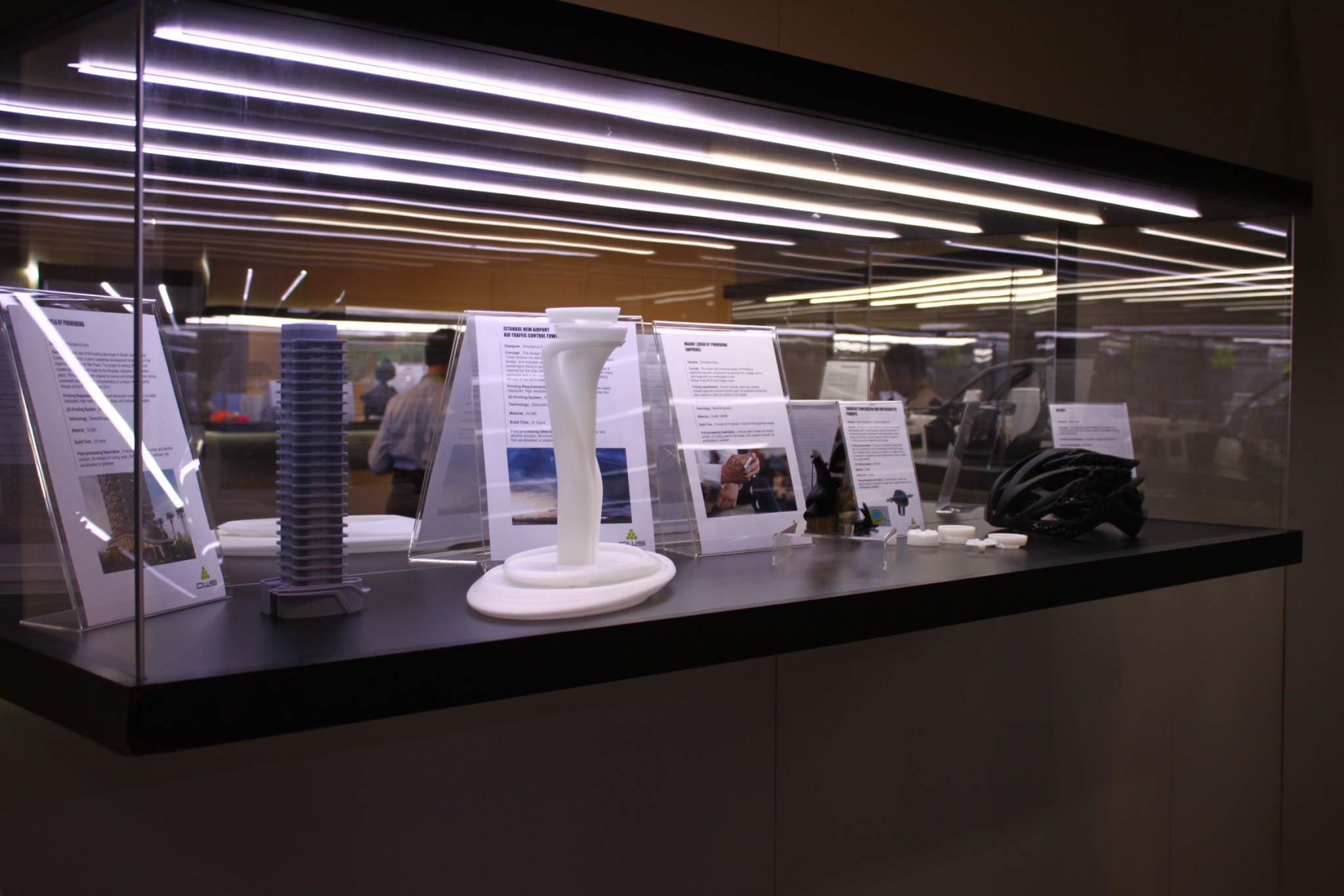 A display case at DWS's CES booth featuring the Cyrela design and others. Photo via DWS.
