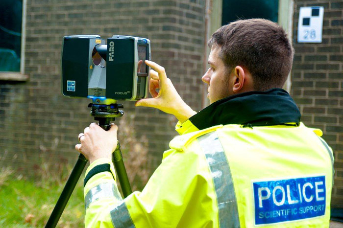 3D scanning of a crime scene by a UK police scientific support officer. Photo via FARO Technologies