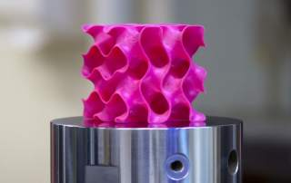 A 3D printed gyroid used to realise a theoretical structure for 3D graphene. Photo by Mealnie Gonick for MIT.