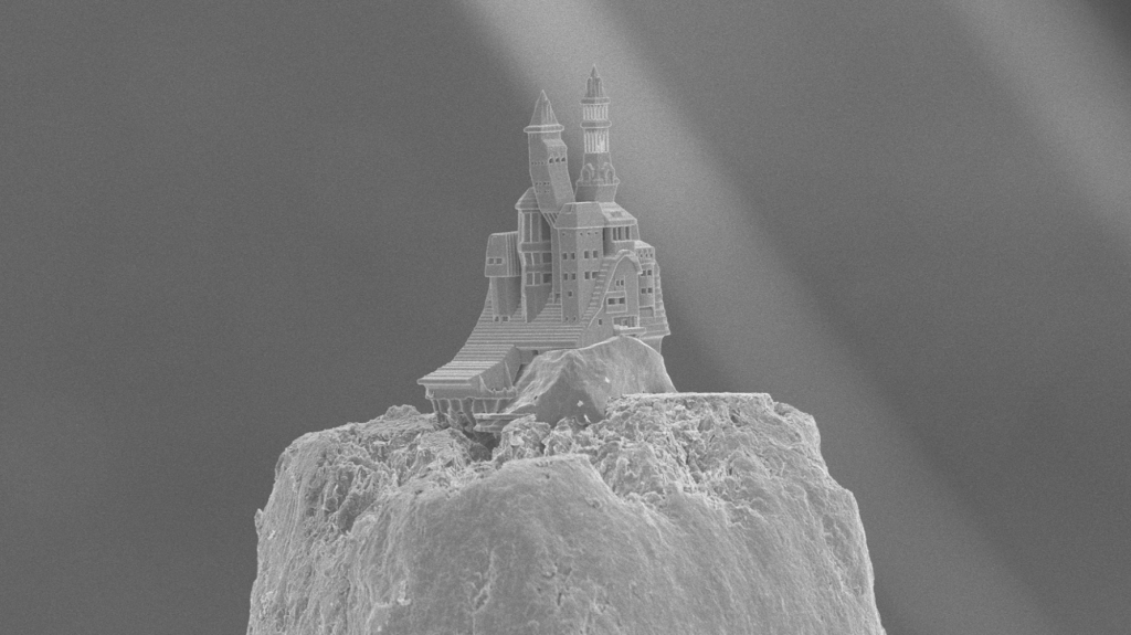 A traditional Russian Datsche castle 3D printed onto the tip a pencil. Photo via: Ovsianikov et al. Tu Wien