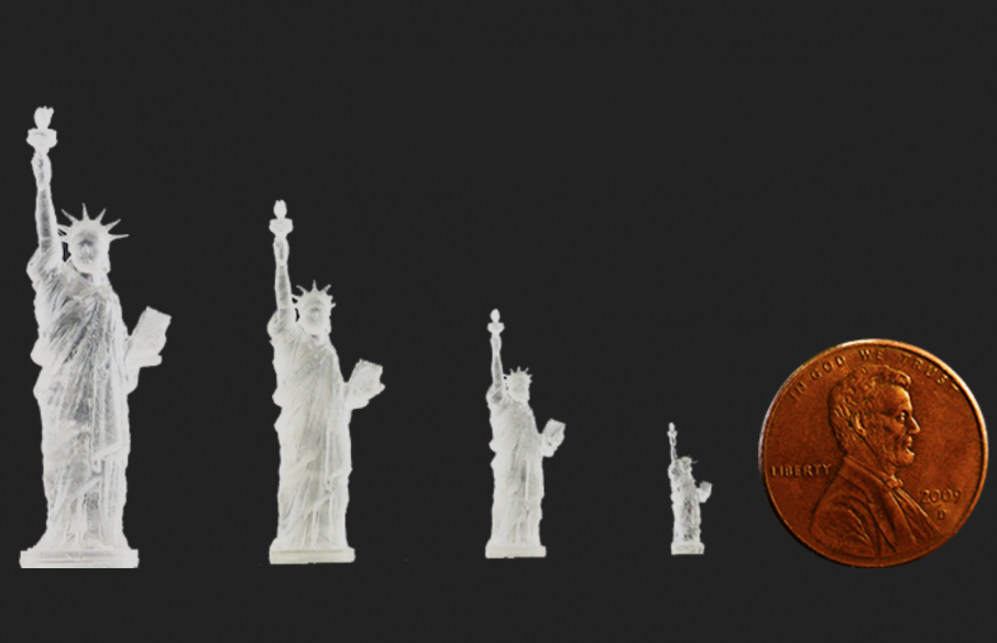 4 resin models of the Statue of Liberty with a cent for size printed on the Nobel series of 3D printers. Image via: XYZ Printing.