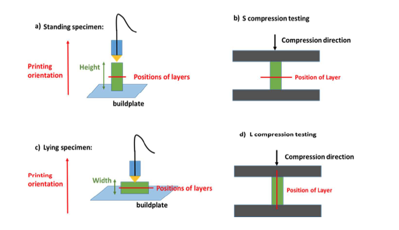 Schematic showing how CWRU tested a 3D printed scaffold for compression (squashing) and tensile (stretching) pressures. Image via: Advincula et al.