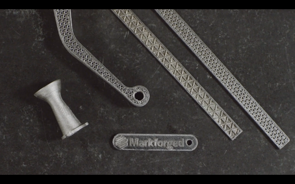 Markforged Metal X 3D printed metal components. Screenshot via: MARKFORGED on YouTube