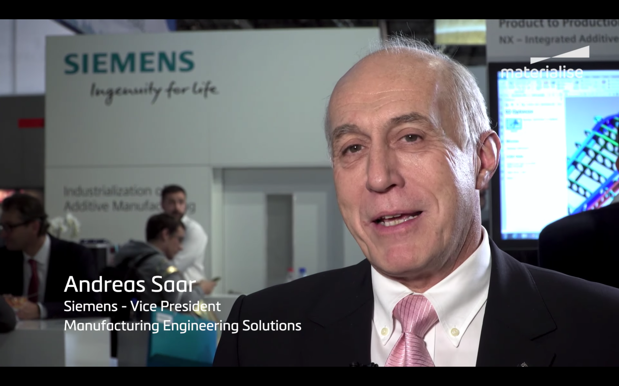 Andreas Saar of Siemens being interviewed at Formnext. Image via Materialise.