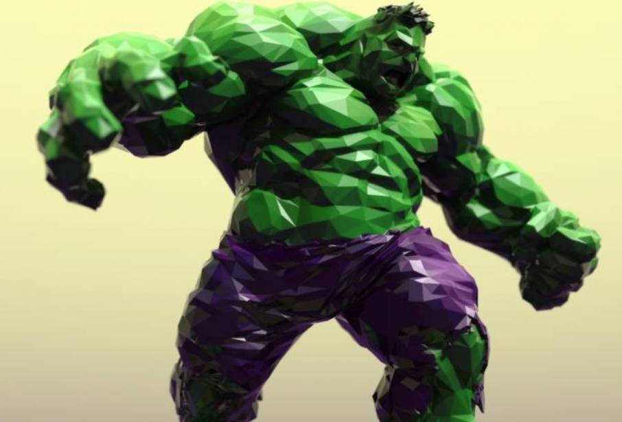Tom Davis' Low Poly Hulk. Image via: MyMiniFactory